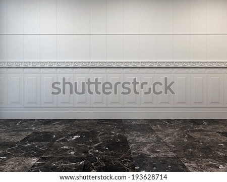 Empty room interior with a dark grey marble floor and half wood paneling on the white wall - stock photo