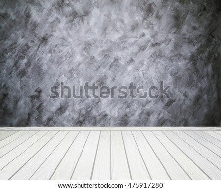 empty room interior with concrete wall (Loft style) and wood floor background