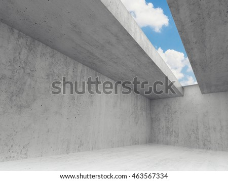 Empty room interior with concrete walls and blue sky in ceiling window. Abstract modern architecture background, 3d render
