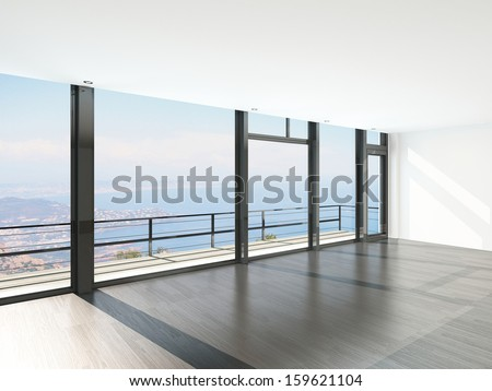 Empty room interior with floor to ceiling windows and scenic view - stock photo