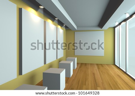 Empty room interior with white canvas on a yellow wall in the gallery - stock photo