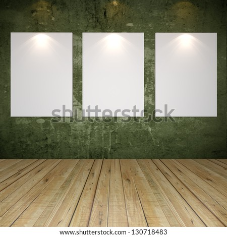 Empty room interior with white canvas on green grunge texture wall in the gallery.
