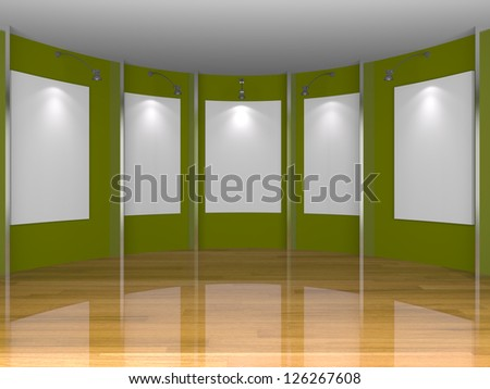 Empty room interior with white canvas on green wall in the gallery.