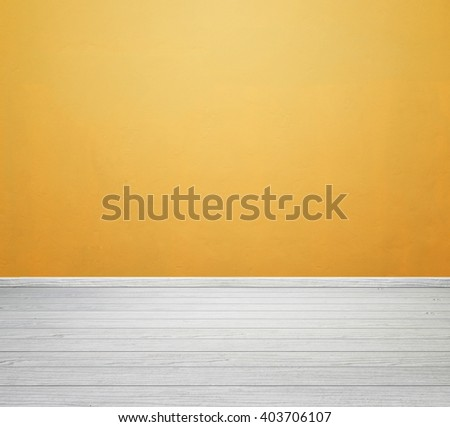 empty room interior with yellow concrete wall and white wood floor
