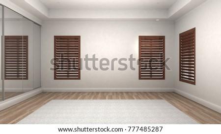 empty room interior wooden floor modern and luxury style 3d render
