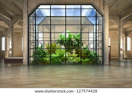 Empty room of business, or residence with atrium background - stock photo