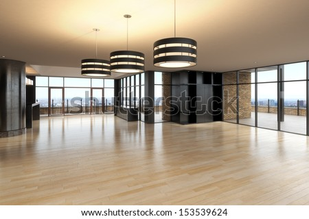 Empty room of business, or residence with city background. - stock photo