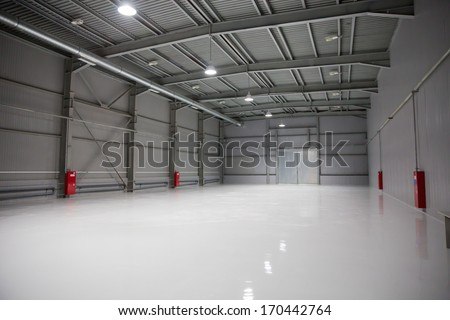 Empty room of modern storehouse, background for industry warehouse - stock photo