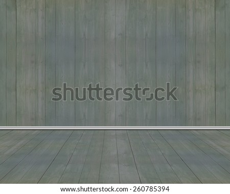 Empty room of old dark green wood wall and floor with vertical striped - stock photo