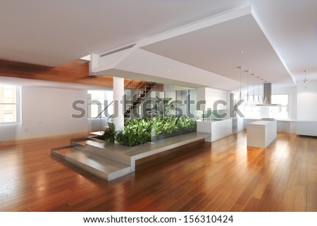 Empty room of residence with an atrium center and hardwood floors - stock photo
