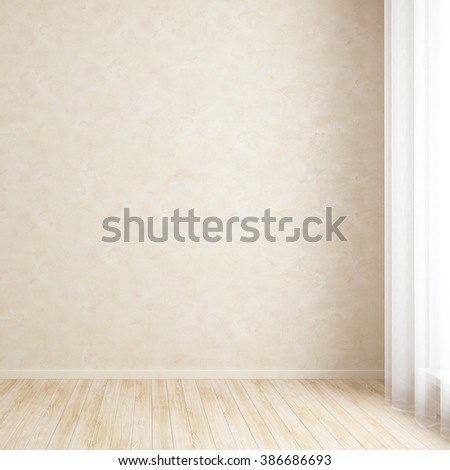 Empty room wall with textured plaster