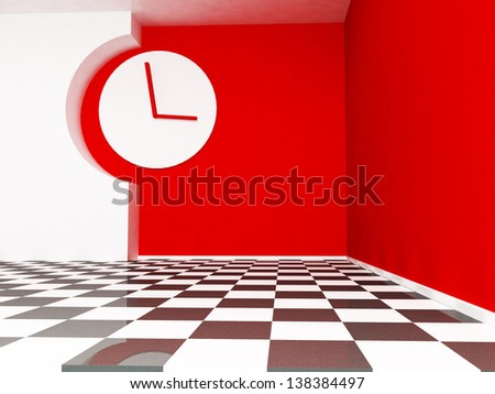 empty room with a big wall clock