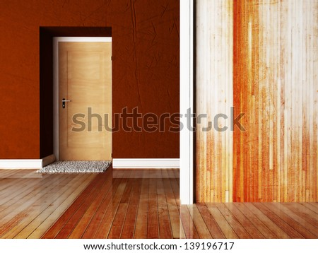 empty room with a door and a carpet near it