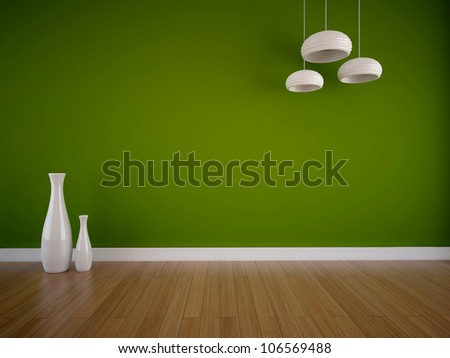 empty room with a green wall and white vases - stock photo
