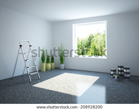 Empty room with a stepladder and plants - stock photo