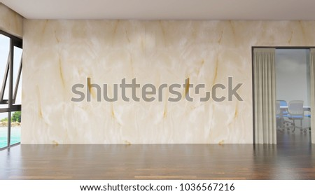 Empty Room With Abstract Marble Walls And Sea View From Window Simple Minimalist Interior Architecture Background