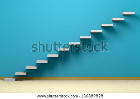 Empty room with ascending stairs, blue rough wall, beige floor and plinth - stock photo