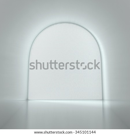 Empty Room with Big Window - 3d illustration - stock photo