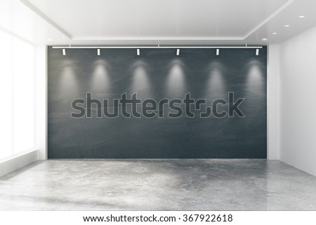 Empty room with big windows, blank blackboard, lamps and concrete floor 3D Render - stock photo