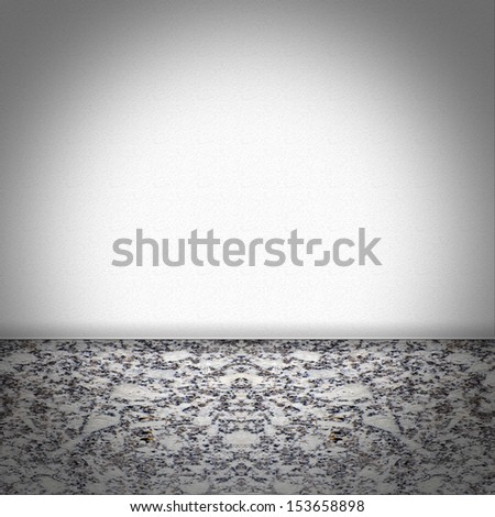 Empty room with black and white marble floor and white structured wallpaper - stock photo