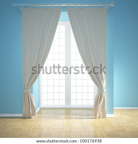 empty room with blinds - stock photo