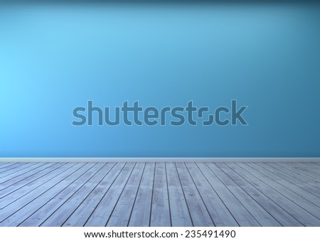 empty room with blue wall room and wooden floor  - stock photo