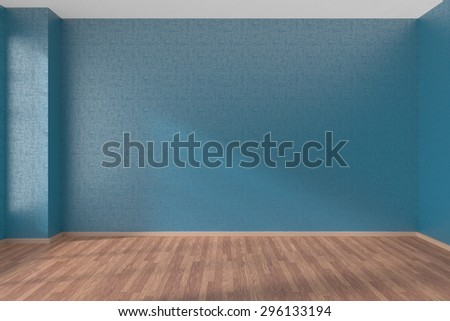 Empty room with blue walls and wooden parquet floor under sunlight through window, 3D illustration