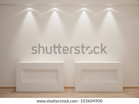 empty room with boxes and backlights - 3d illustration - stock photo
