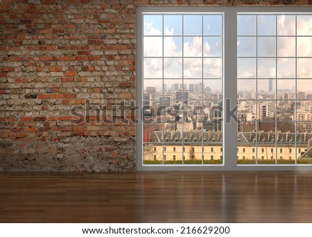 Empty room with brick wall and window  - stock photo