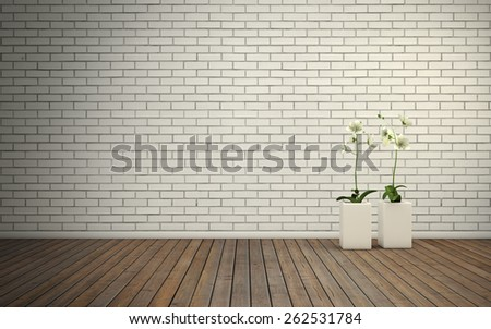 Empty room with brick wall and wooden floor with flovers. 3D rendering - stock photo