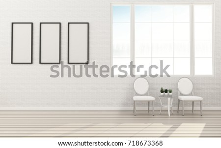 Empty room with chair vintage. modern interior design. -3d rendering