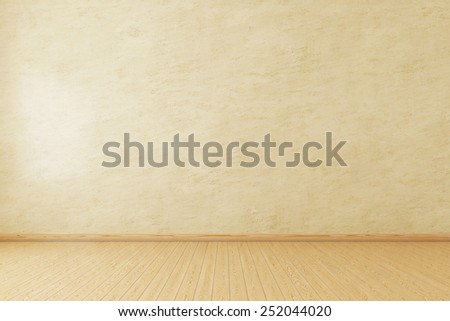 Empty room with copy space and wooden floor