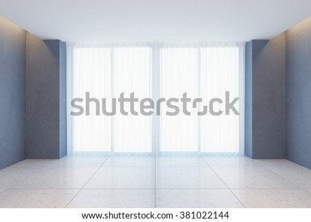 empty room with curtains on wide window, 3D illustration - stock photo
