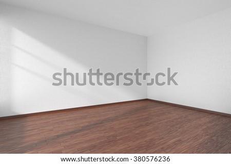 dark wood floor perspective. Empty Room With Dark Hardwood Parquet Floor And Walls White Textured Wallpaper Sunlight From Wood Perspective D