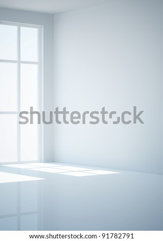 empty room with french window, view in corner - 3d illustration - stock photo