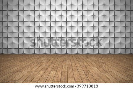 Empty room with geometric pattern on wall background. 3D rendering - stock photo