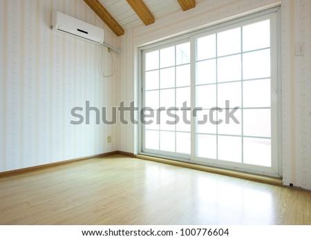 empty room with glass door. - stock photo