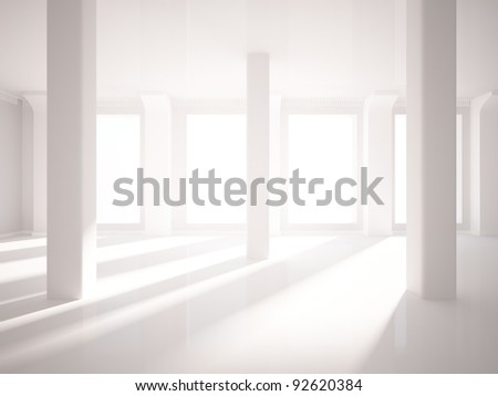 empty room with gray walls and columns - stock photo