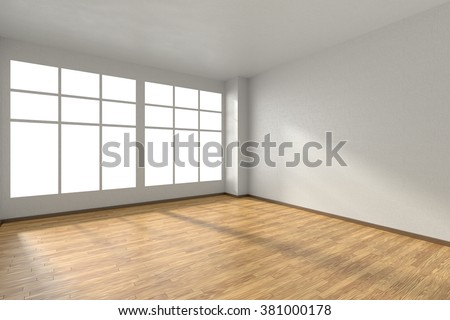 Empty room with hardwood parquet floor, window and walls with white textured wallpaper and sunlight from window, perspective view, 3d illustration