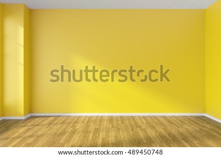 Empty room with hardwood parquet floor, yellow walls and sunlight from window on the wall, minimalist interior, 3d illustration