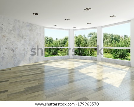 Empty room with large windows - stock photo
