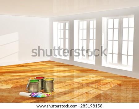 Empty room with new parquet floor - stock photo