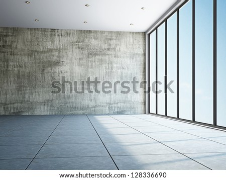 Empty room with old wall and a window - stock photo