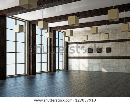 Empty room with old wall and a windows - stock photo