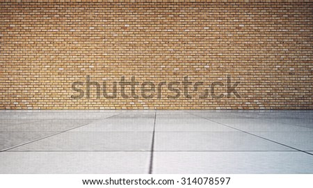 empty room with red brick wall and tile floor