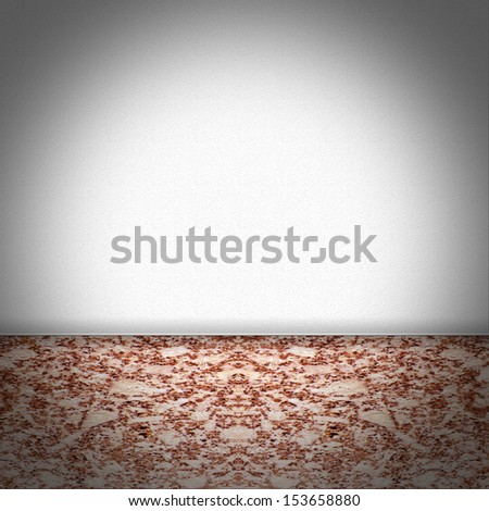 Empty room with red brown marble floor and white structured wallpaper - stock photo