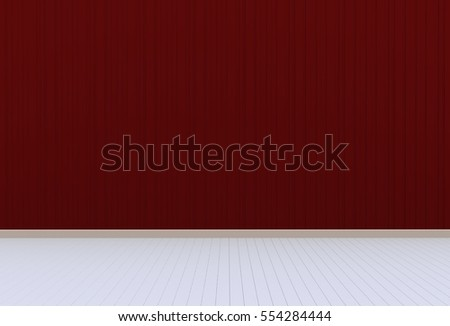 Empty room with red wall and wooden floor, 3D rendering