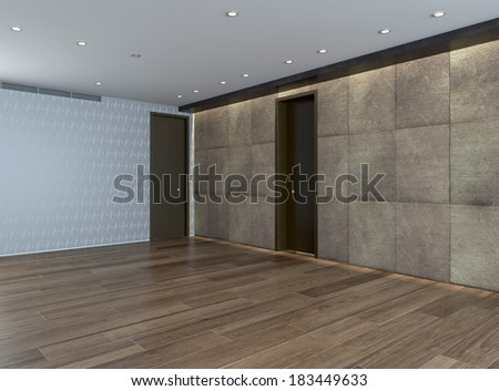 Empty room with stone wall and parquet floor