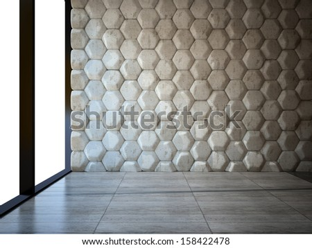 Empty room with stone wall and parquet floor 3D - stock photo