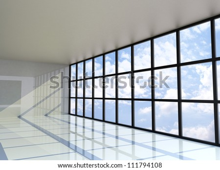 Empty room with the blue sky on the outside, 3D Rendering - stock photo